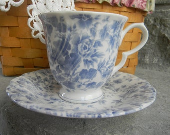 Vintage Wedding Table Setting Nikko Tea Cup and Saucer Blossomtime Tea Roses Blue Floral teatime