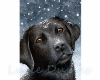Fridge Magnet Print ACEO from my original painting Dog 100 black Labrador by Lucie Dumas
