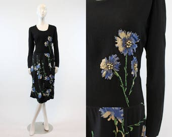 40s Dress Floral Applique Medium  / 1930s Vintage Dress Rayon Beaded  / Cornflowers and Pearls Dress