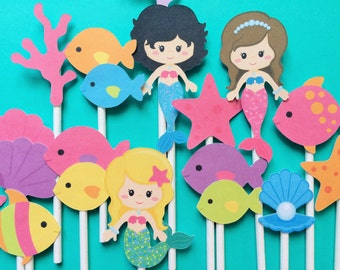 12 Mermaid and sea life cupcake toppers, mermaid party toppers, mermaid party, girls mermaid party, sea creatures party, party sea life