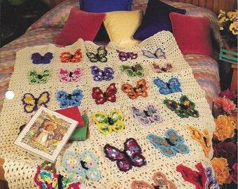 Butterfly Afghan - Annie's Crochet Quilt & Afghan - Crochet Pattern Quilt Blanket Afghan, Bedspread, Home Decor, Bedding, Butterfly Motif