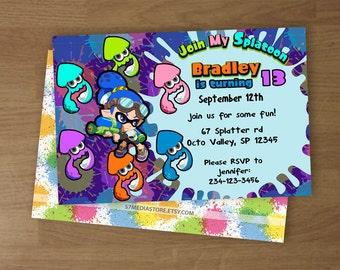 Splatoon - Birthday Party Invitation - Digital Printable Custom Invitation - 4 x 6  or  5 x 7