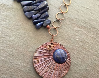 Asymmetrical Copper Metal Clay Pendant with Lapis