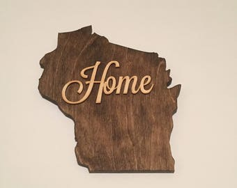 Wooden Wisconsin Home Sign