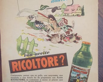 Cooking oil «Ricoltore» and «Palmolive» soap, Double Vintage ad (1940s)
