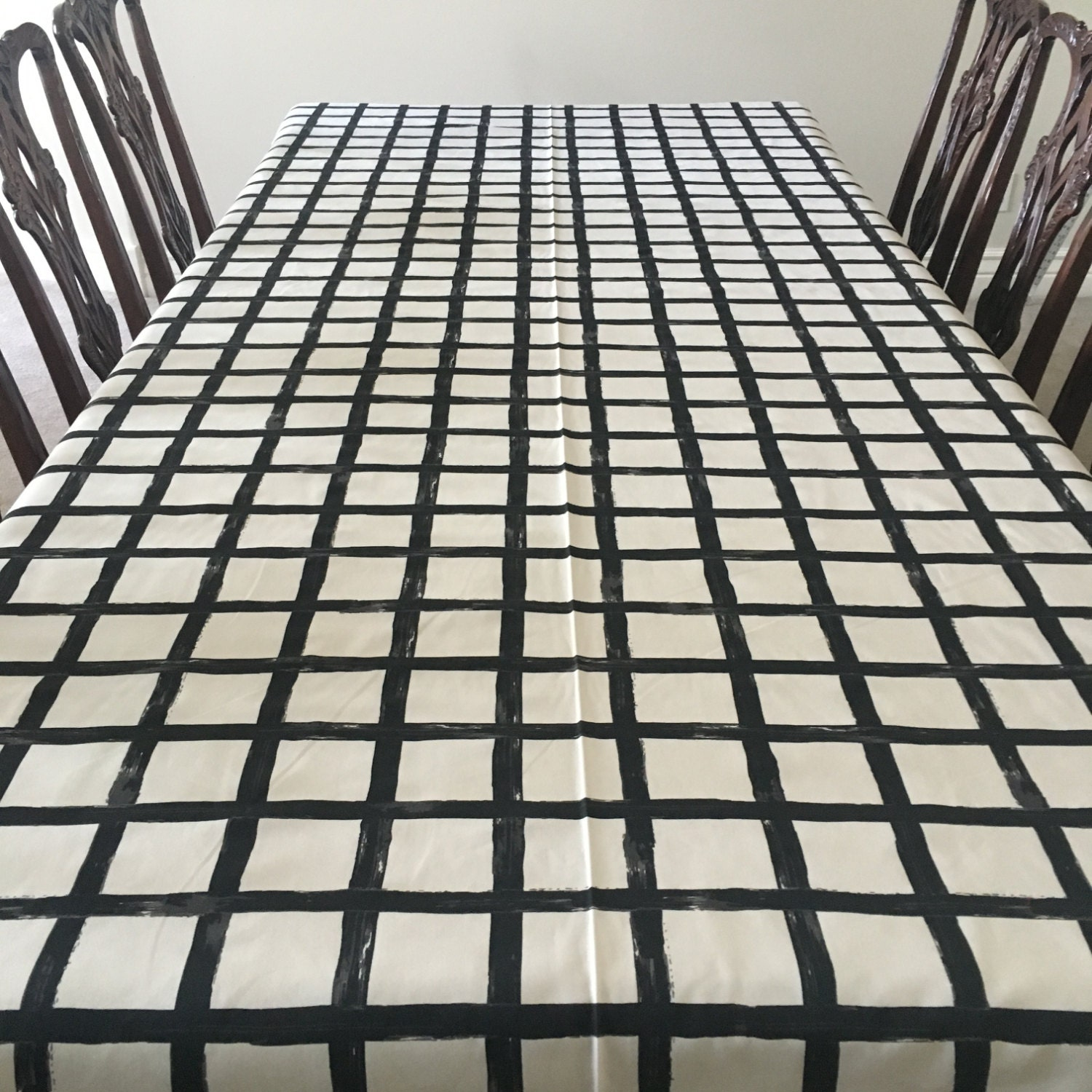 Windowpane Tablecloth, Black And White Tablecloth, Thanksgiving Table  Linens, Holiday Dinning, Holiday Table Linens, Windowpane Print Linen