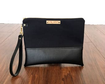 Sophisticated Black on Black Wristlet