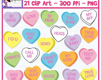 Conversation Hearts Clip Art Set / Valentine's Day Convo Hearts / 300 DPI PNG /  Instant Download