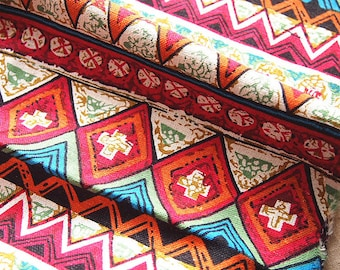 Linen fabric and cotton hippie colorful bright pink turquoise version