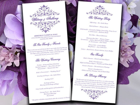 printable wedding program template lavender ceremony program