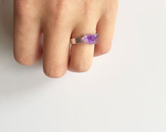 Silver Amethyst Solitaire Ring