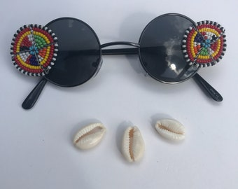 2nd Son- Masaai beads small circle sunglasses