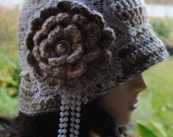 Handmade Crochet, Flapper, Bucket, Cloche Hat 22-23 inch Varigated Tan