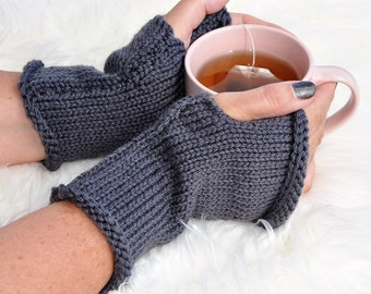 Grey fingerless mitts, texting mitts, fingerless gloves, winter gloves, hand made mitts, Grey mitts.