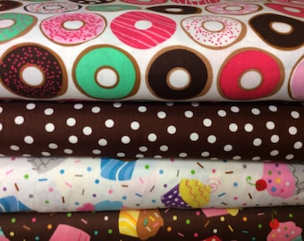 Donuts and Cupcakes ~ 4 FQ Bundle Sold Out and Rare Fabric for Robert Kaufman, Baked with Love Cupcakes, Remix Dots, Confection Donuts