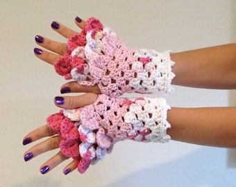 READY TO SHIP - Dragon Scale Fingerless Gloves -  pink, white, wrist hand arm warmers women crochet game of thrones khaleesi
