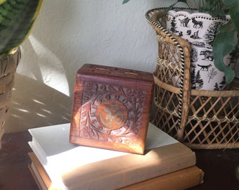 Ohm Carved Wooden Box   Wooden Jewelry Box   Trinket Box