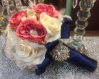 Navy blue/ ivory/blush Quinceniera / wedding bouquet