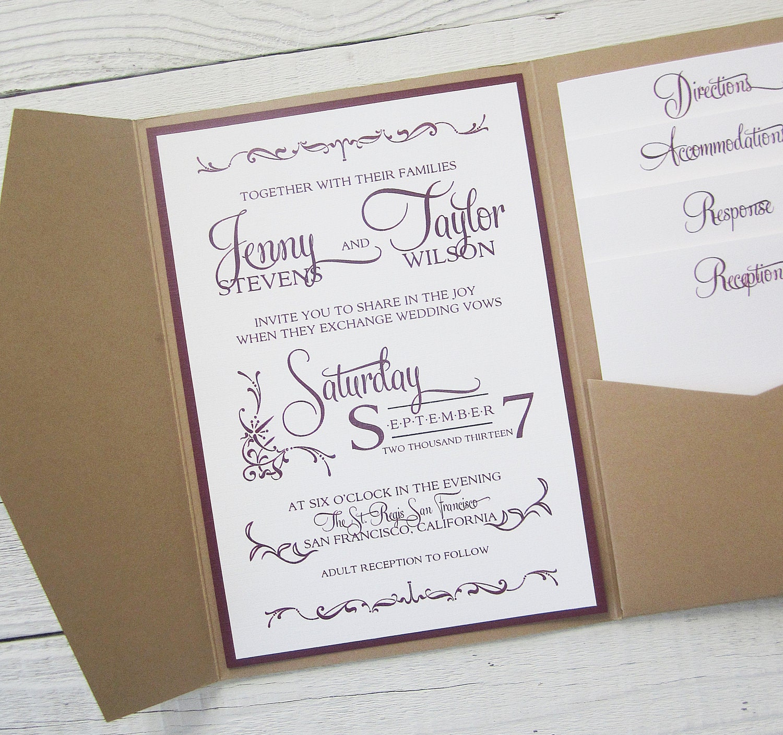 Rustic Kraft Wedding Invitation Pocket Country Twine Purple