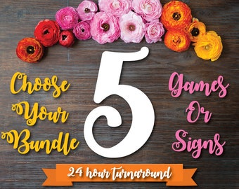 Choose Any 5 Games or Signs in my Shop! Bridal Shower Games Package . Bundle 5 Games . **CUSTOMIZED Games NOT INCLUDED .
