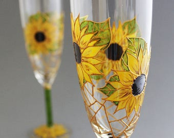Sunflower Wedding Glasses, Rustic Wedding Glasses, Sunflower Champagne Glasses, Sunflower themed wedding