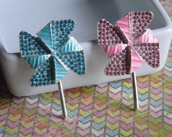 Pinwheel Rhinestone Embellishment You Choose Pink or Blue for Baby Shower Hair Bow Centers Hair Clips DIY Projects Scrapbook Carnival Party