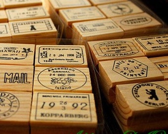 4 Cases Postmark Rubber Stamp Set  - Wood Travel Stamps - Diary Stamps - Air Mail, Vintage