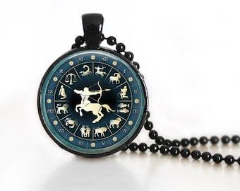 Zodiac Signs Sagittarius Glass Pendant/Necklace/Keychain