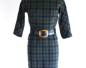 50s dress - vintage green plaid wool day dress - wiggle dress - pencil skirt - small