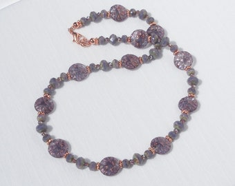 Lavender Czech glass and copper necklace
