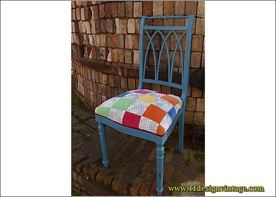 Silla madera, Silla madera tapizada, Silla azul, Patchwork, Silla tapizada, Silla pintada azul vintage, Silla dormitorio, Silla original