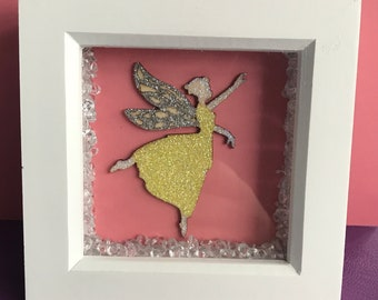 White box frame with glittered fairy