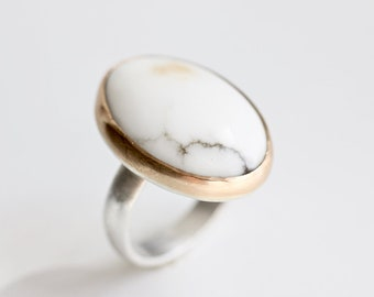 Howlite Ring in Recycled 14k Gold and Sterling Silver - Statement Ring