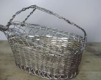 Vintage silver plated metal basket bottle/wine  holder,bottle serving Modern Midcentury Home Decor