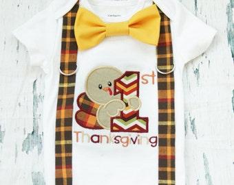 My First Thanksgiving Onesie, Baby Boy my first Thanksgiving, Bow tie and Suspender set, Fall Baby Boy Onesie, Boy Holiday Onesie