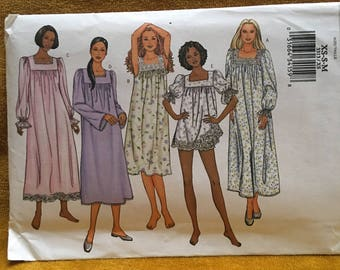 Uncut Butterick Pattern 3313 Size XS-M Misses Nightgown and Shorts