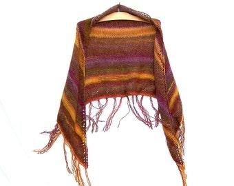 Knit Fringe Shawl - Boho Wrap - Shoulder Warmer - Brown - Gold - Purple - Mesa