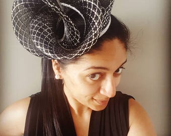 Metallic silver and black crinoline headpiece / fascinator / hat, ideal for the races and Fashions on the Field entrants