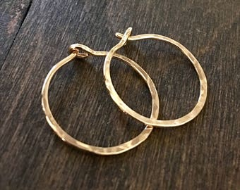 Small Hammered Hoop Earrings, Bronze Hand Forged Hoop Earrings, 14k Gold Fill, Red Brass, Sterling Silver, Rose Gold Fill, Copper