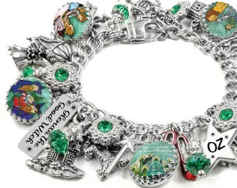 Wizard of Oz Charm Bracelet, Silver Charm Bracelet, Dorothy Jewelry, Wizard of Oz Jewelry, Toto We're Not in Kansas Anymore