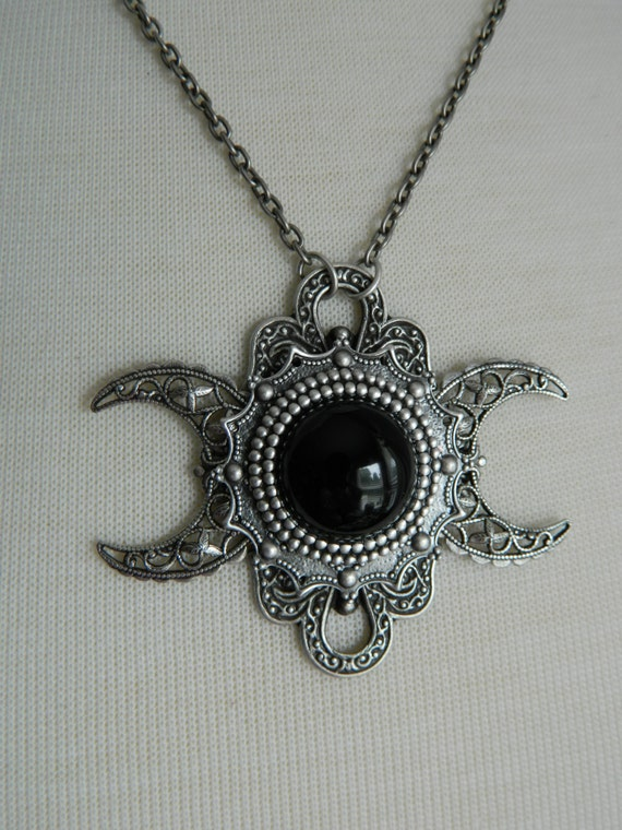 Nyx triple moon goddess necklace by crow haven road like this item mozeypictures Image collections
