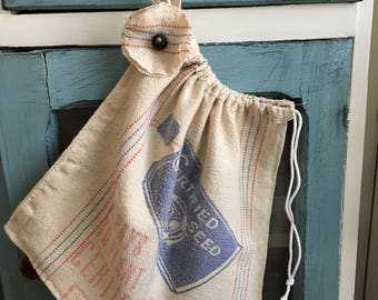 Toy bag/ dance bag/ Vintage grain sack travel bag/laundry bag/shoe bag/ school gym bag