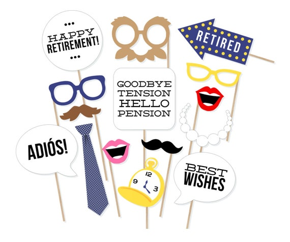Printable Retirement Photo Booth Props Retirement Party