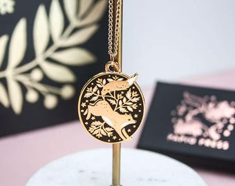Enamel Fox Necklace, Gold Floral Fox Pendant