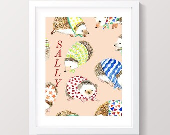 Custom 8x10 name wall art, picture, poster | personalized with name | kid's room | nursery | printable | boy or girl | hedgehog | animal