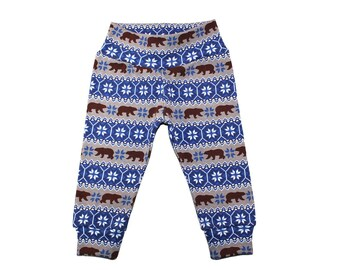 Bear Leggings - Fairisle Bear Leggings - Boys Leggings - Baby Pants - Baby Leggings - Toddler Leggings - Winter Leggings - Boys Pants