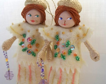 Handmade Felt Doll, More Lemon Sherbet , Hanging Ornament, Felt Home Decorations