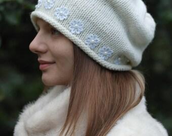 Cream Knit Hat Cream Slouchy Hat Womens Chunky Knit slouch beanie Mens knit hat cream knit beanie