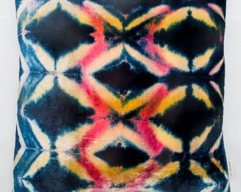 One-of Kind Silk/Rayon Velvet Decorative Pillow Hand Dyed in USA by LORABILA