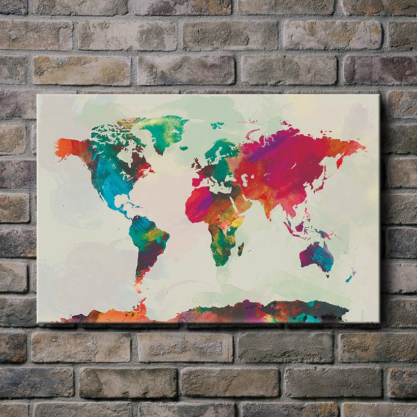 Watercolor world map mounted canvas wall art multiple color zoom gumiabroncs Image collections